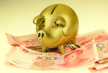 piggy bank and one-hundred rmb bill