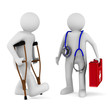 man on crutches and doctor. Isolated 3D image