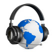 Headphone and globe on white background. Isolated 3D image
