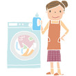 洗濯をしているお母さん