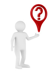man and question on white background. Isolated 3D image
