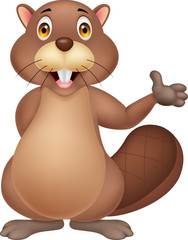Cute beaver cartoon waving hand
