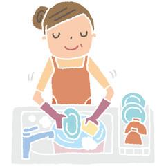 皿洗いする、お母さん