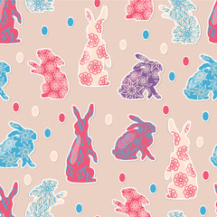 Easter pattern with rabbit and egg