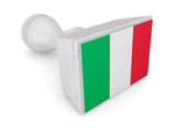 Wooden stamp with Italian flag.