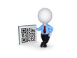 3d small person and symbol of QR code.