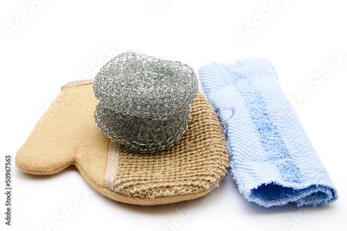 Topfkratzer mit Massagehandschuh