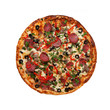 Pizza with ham, sausage, meat, pepper and olives as food backgro