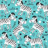 Childish seamless pattern wtih cute zebras