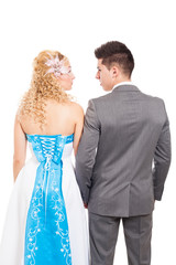 Back view of just married wedding couple