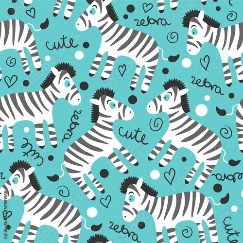 Childish seamless pattern wtih cute zebras