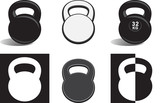 Monochrome kettlebells isolated on white background