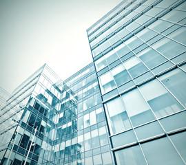 exterior of modern glass business center