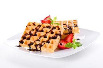 Waffles Chocolate And Strawberries