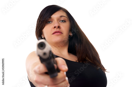 woman with handgun