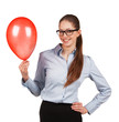 Girl in glasses with red inflated ball