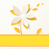 Yellow paper flower vector greeting card template