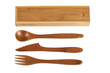 Wooden cutlery and box isolated