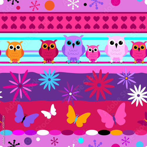 Seamless striped pattern girl colors