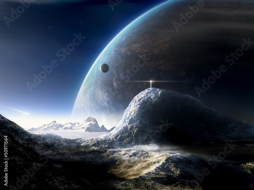 Leinwanddruck Bild Space asteroid and the planet