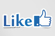 Social media blue and white like  sticker