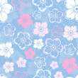 Vector seamless pattern with white and pink flowers on blue.