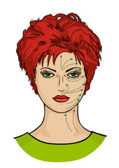 Sheme massage lines on woman face