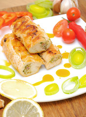 rolls with chicken and vegetables