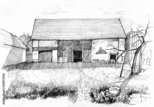 Sketch of an old barn. Scan of pencil drawing.