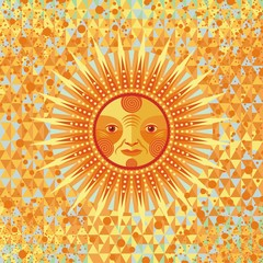 Decorative summer sun on geometric background