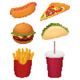 set of pixel fast food