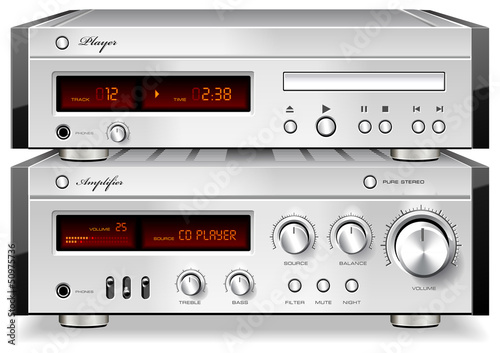 Music Stereo Audio Compact Disc CD Player with Amplifier rack ve