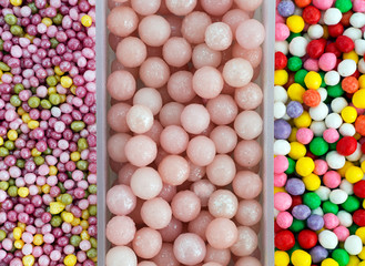 Sugar ball sweet cake decorations aka sprinkles - assorted, back
