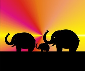 elephants - wandering - art