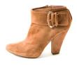 Suede belted high heel bootie