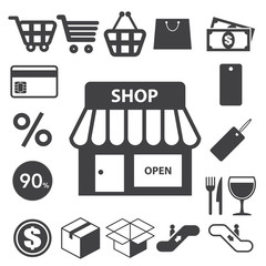 Shopping icons set. Illustration