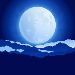 The full moon in the night sky background