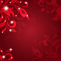 Abstract vector background with red petals