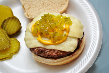 Rare Cheeseburger with Condiments