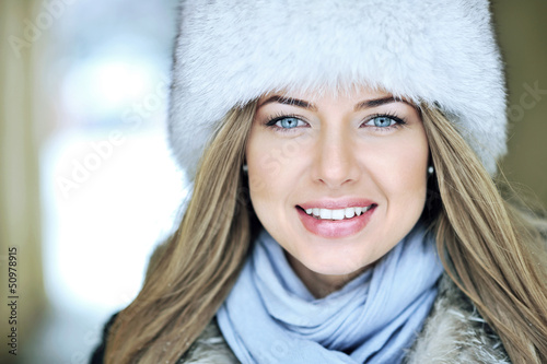 Beautiful woman face close up