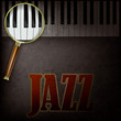 abstract background with magnifying glass and piano
