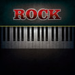 abstract background with word rock and piano