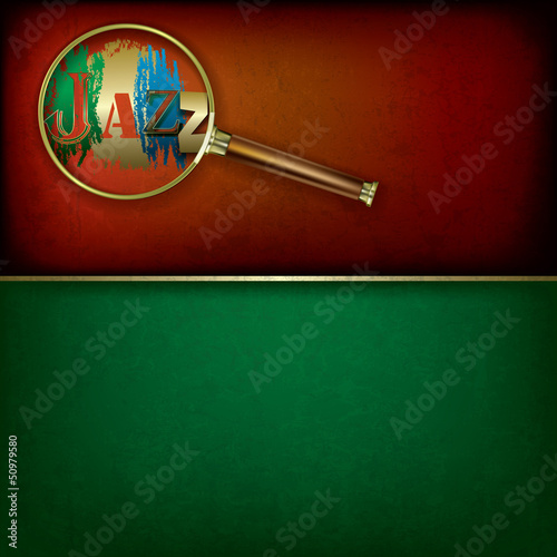 Abstract music background with logo jazz and Magnifying glass