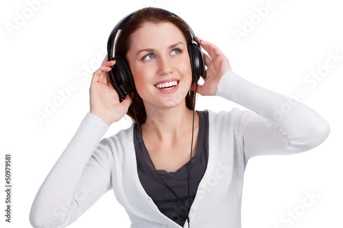 Teenage girl with headphones