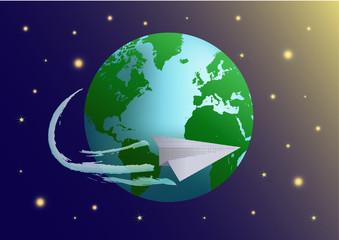 Paper plane flight around the Earth