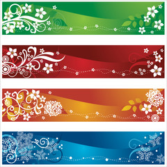 Four seasonal banners with flowers and snowflakes design