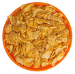 Sunshiny orange bowl of breakfast cereal cornflakes, isolated ov