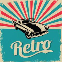 Vintage car design flyer - Grungy style vector design