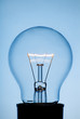 Light bulb on pale blue