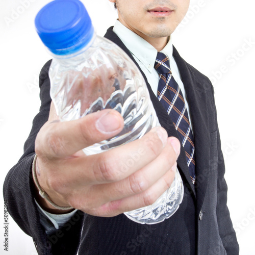 Businessman drink water